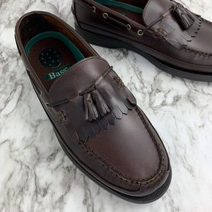 Bass Henry leather tassel loafers brown men's 13